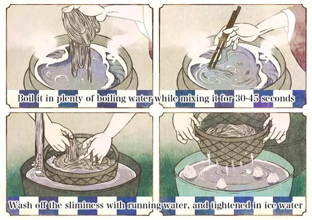 欧米人向け蕎麦作成方法説明イラストのサンプル画像5枚目